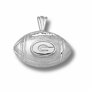 Sterling Silver 1/2in Georgia Bulldogs Football Pendant