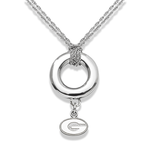Sterling Silver 16in University of Georgia Halo Necklace