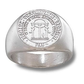 Sterling Silver Men's Georgia Bulldogs 5/8in Seal Ring