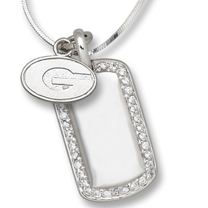Sterling Silver University of Georgia Mini Dog Tag Necklace
