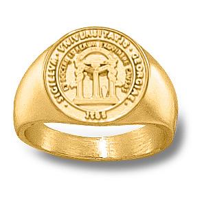 Georgia Bulldogs 1/2in Seal Ring - 10k Gold