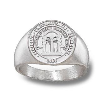 Sterling Silver Georgia Bulldogs 1/2in Seal Ring