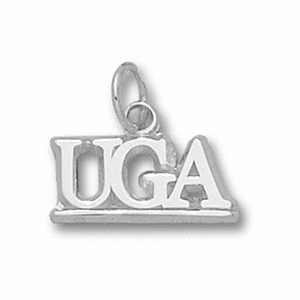 Sterling Silver 3/8in Georgia Bulldogs UGA Pendant