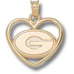 10kt Yellow Gold 5/8in University of Georgia Heart Pendant