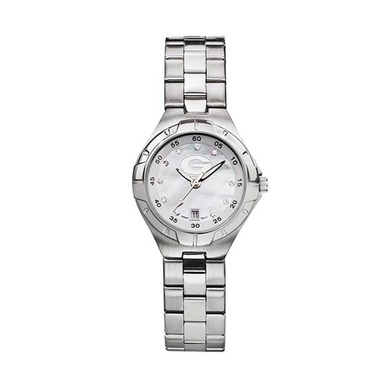 University of Georgia Ladies Stainless Pro II Pearl Dial Watch