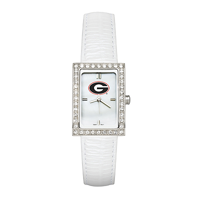 University of Georgia Ladies Allure Watch White Leather Strap