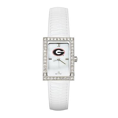 University of Georgia Ladies Allure Watch White Leather Strap