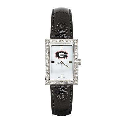 University of Georgia Ladies Allure Black Leather Watch