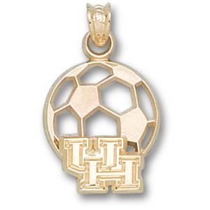 Houston Cougars 9/16in 10k Soccer Pendant