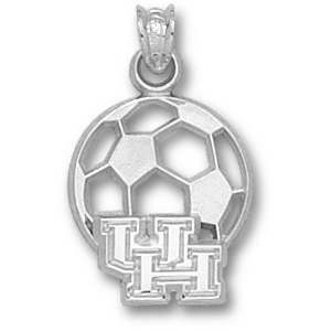 Houston Cougars 9/16in Sterling Silver Soccer Pendant