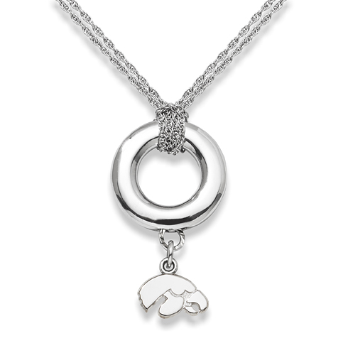 Sterling Silver 16in University of Iowa Halo Necklace