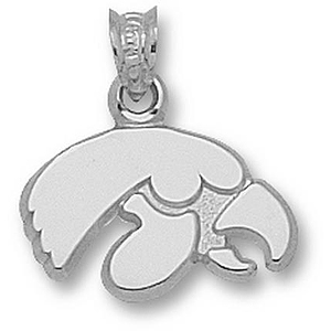 Sterling Silver 3/8in University of Iowa Tiger Hawk Pendant