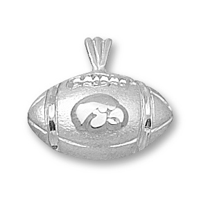 Iowa Hawkeyes 1/2in Sterling Silver Football Pendant