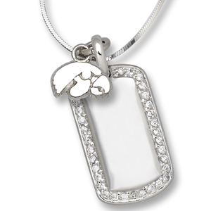 Sterling Silver University of Iowa Mini Dog Tag Necklace