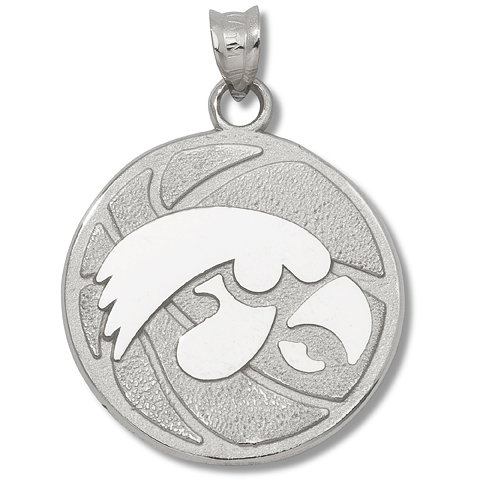 Sterling Silver 3/4in University of Iowa Basketball Pendant