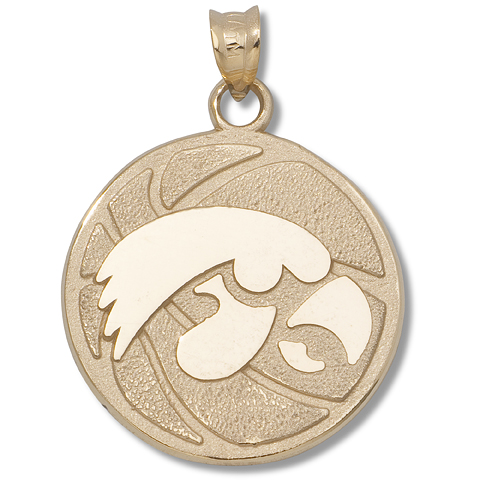 3/4in University of Iowa Basketball 14kt Yellow Gold