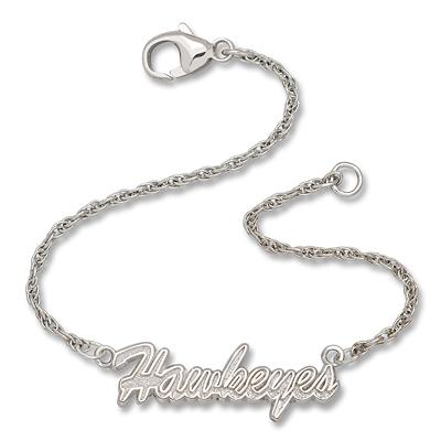 Sterling Silver 7in Iowa Hawkeyes Script Bracelet