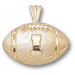 14kt Yellow Gold 1/2in University of Illinois Football Pendant