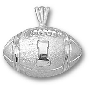 Sterling Silver 1/2in University of Illinois Football Pendant