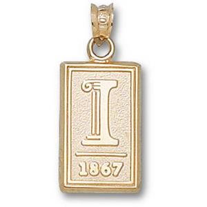 14kt Yellow Gold 5/8in University of Illinois 1867 Pendant
