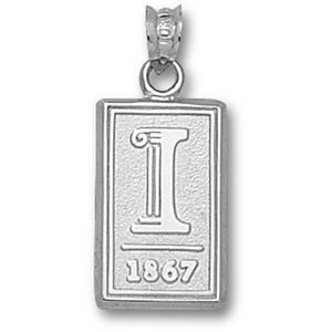 Sterling Silver 5/8in University of Illinois 1867 Pendant