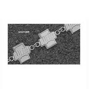 Illinois Fighting Illini 7.5in Sterling Silver I Bracelet