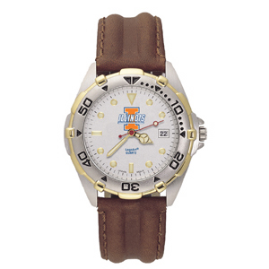 University of Illinois Mens All Star Leather Watch