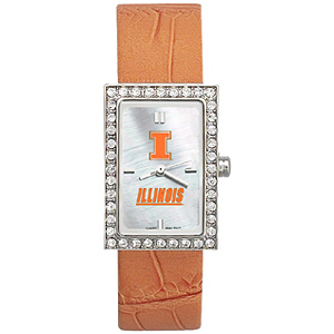 University of Illinois Starlette Leather Watch