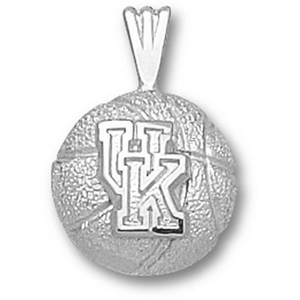 Kentucky Wildcats 1/2in Sterling Silver Basketball Pendant