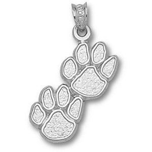 Kentucky Wildcats 3/4in Sterling Silver Double Paw Pendant