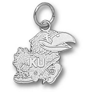 Sterling Silver 1/2in Kansas Jayhawks Mascot Charm