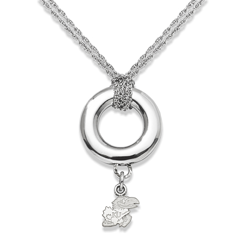 Sterling Silver 16in University of Kansas Halo Necklace