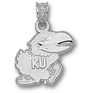 Sterling Silver 1/2in Kansas Jayhawks Modeled Mascot Charm