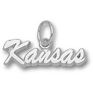 Kansas Jayhawks 1/4in Sterling Silver Script Pendant