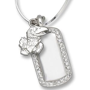 Sterling Silver University of Kansas Mini Dog Tag Necklace