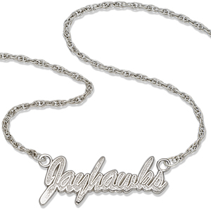 Kansas Jayhawks 18in Sterling Silver Script Necklace