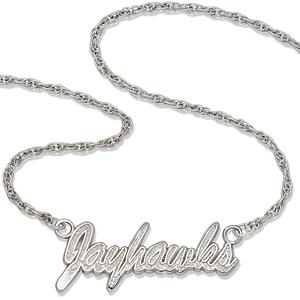 Kansas Jayhawks 18in Sterling Silver Script Necklace
