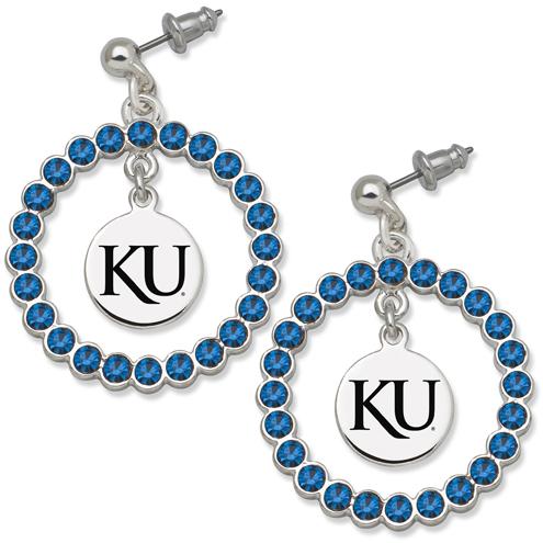 University of Kansas Spirit Crystal Logo Earrings