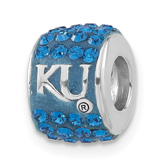 Sterling Silver University of Kansas Premier Crystal Bead