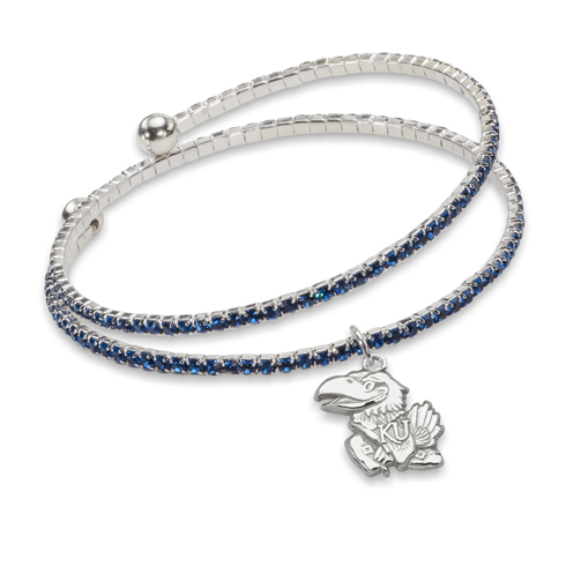 University of Kansas Amped Logo Crystal Bracelet