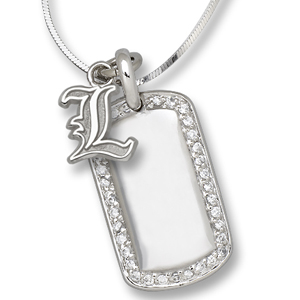 Sterling Silver University of Louisville Mini Dog Tag Necklace