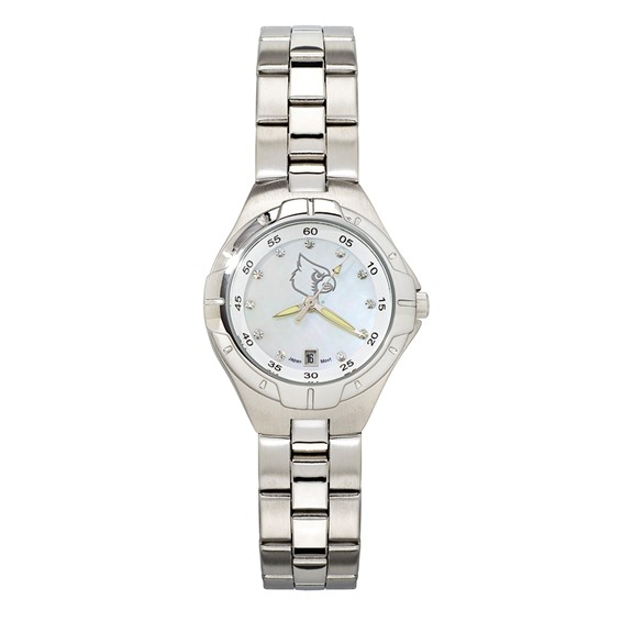 University of Louisville Ladies Stainless Pro II Pearl Dial Watch