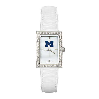 University of Michigan Ladies Allure White Leather Watch