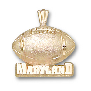 14kt Yellow Gold 1/2in University of Maryland Football Pendant