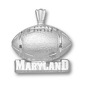 Sterling Silver University of Maryland 1/2in Football Pendant