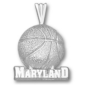 Maryland Terrapins 5/8in Sterling Silver Basketball Pendant