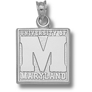 Maryland Terrapins 5/8in Sterling Silver Block Pendant