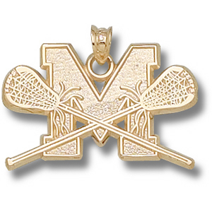 10kt Yellow Gold 3/4in Maryland Lacrosse Pendant