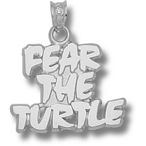 Sterling Silver 5/8in Fear the Turtle Pendant