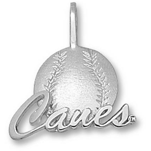 Miami Hurricanes 5/8in Sterling Silver Baseball Pendant